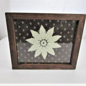 Handmade Frame and Crochet Doily Artwork